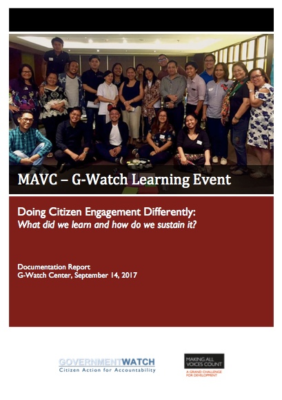 MAVC-G-Watch Learning Event: Doing Citizen Engagement Differently