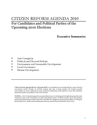 Citizen Reform Agenda 2010: For Candidates and Political Parties of the Upcoming 2010 Elections