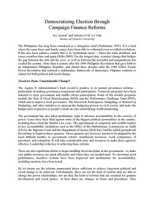 Democratizing Election through Campaign Finance Reforms