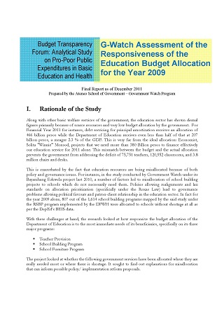 G-Watch Assessment of the Responsiveness of the Education Budget Allocation for the Year 2009