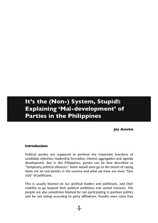 It's the (Non-) System, Stupid! Explaining 'Mal-development' of Parties in the Philippines