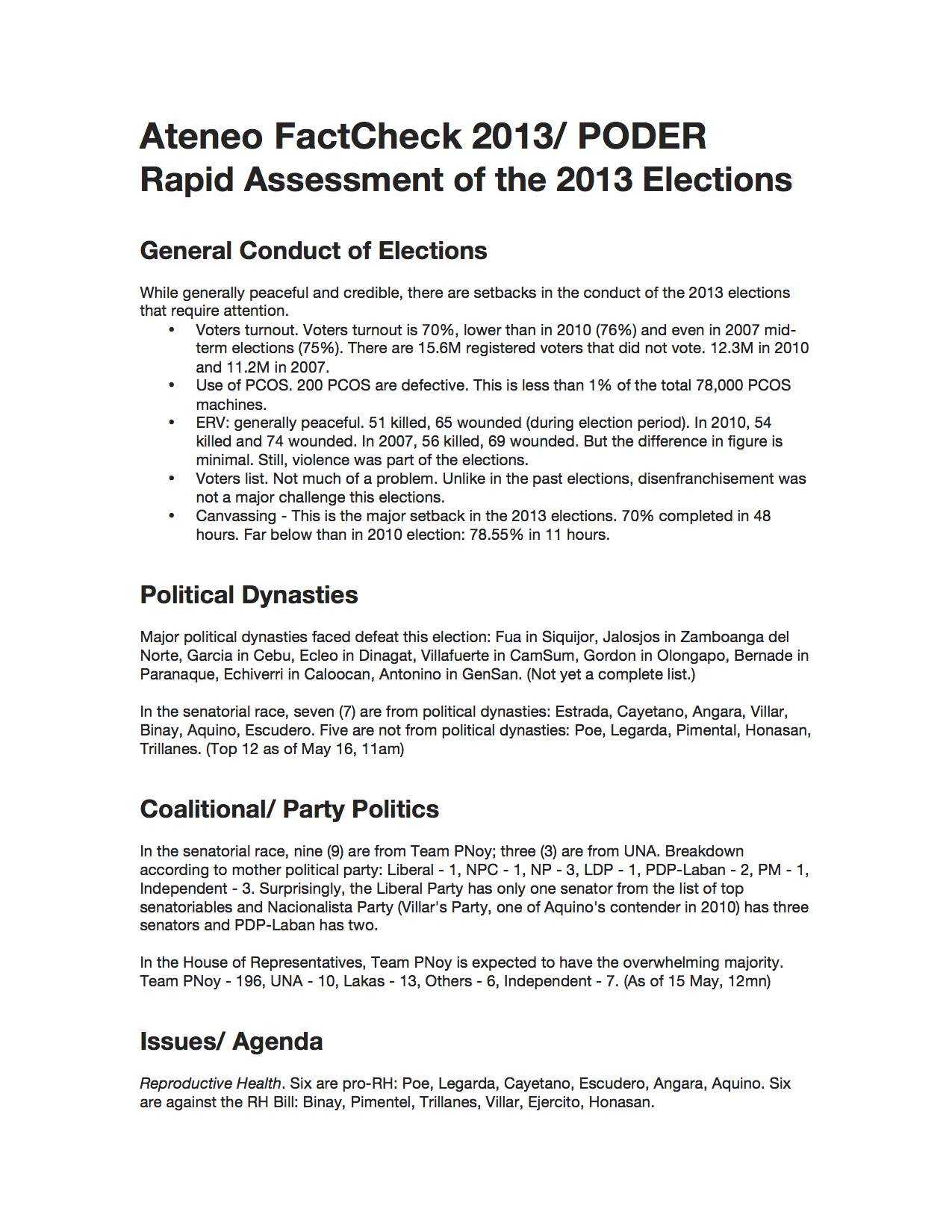 2013 Elections Rapid Assessment