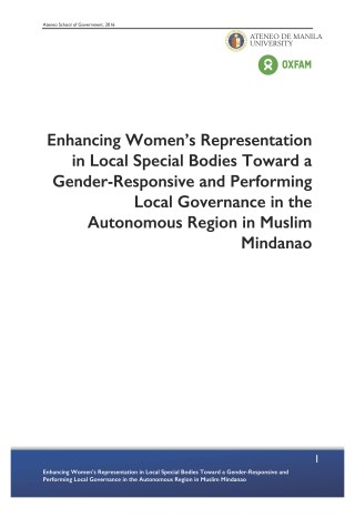 Enhancing Women's Representation in Local Special Bodies Toward a Gender-Responsive and Performing Local Governance in the Autonomous Region in Muslim Mindanao
