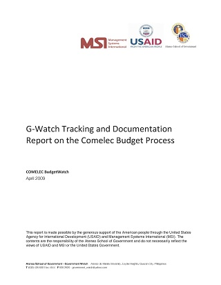 G‐Watch Tracking and Documentation Report on the Comelec Budget Process