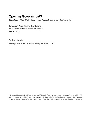 Opening Government? The Case of the Philippines in the Open Government Partnership