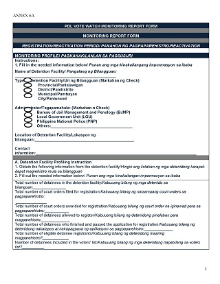 PDL Vote Watch Monitoring Report Form