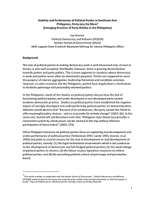 Stability and Performance of Political Parties in Southeast Asia Philippines, Party-Less No More? (Emerging Practices of Party Politics in the Philippines)