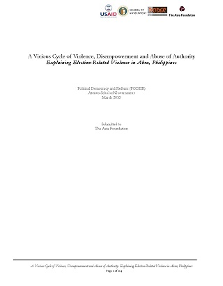 A Vicious Cycle of Violence, Disempowerment and Abuse of Authority Explaining Election-Related Violence in Abra, Philippines