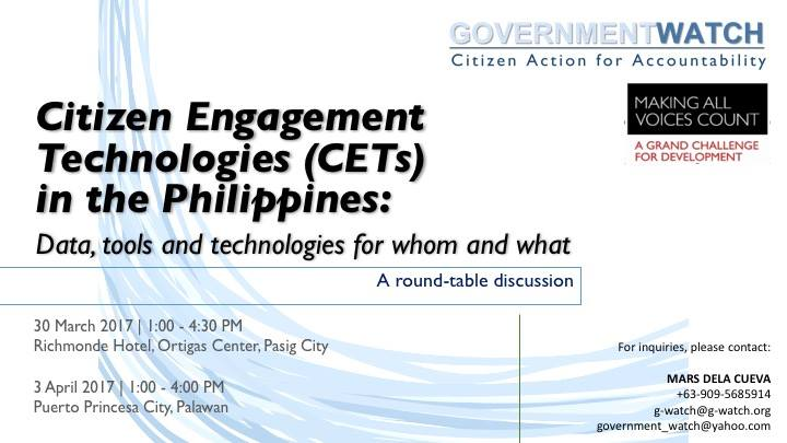 Citizen Engagement Technologies (CETs) in the Philippines