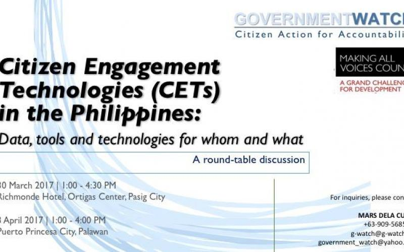 Citizen Engagement Technologies (CET): Data, tools and technologies for whom and what
